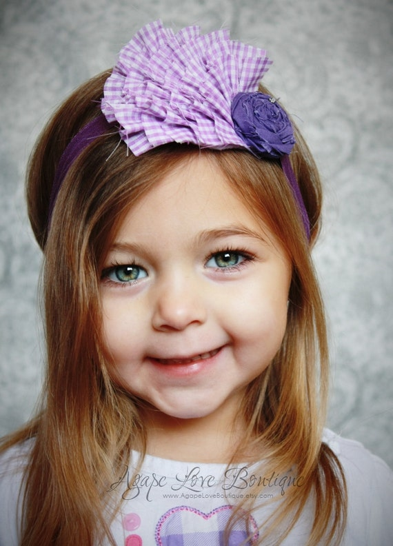 Lavendar Dreams - Purple Gingham Ruffled Fabric Headband Mini (CHILD SIZED)