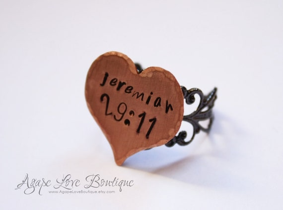 Hand Stamped Heart Verse Ring