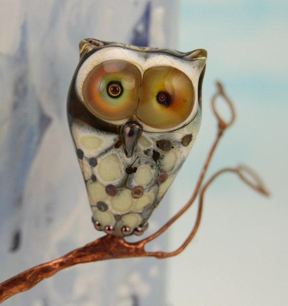 Owl bead , Handmade lampwork glass owl  , UK