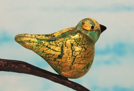 Bird bead, Handmade lampwork glass bird , UK  SALE  RESERVED