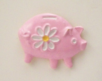 Pink Piggy Bank Buttons - DIY Supplies on Etsy
