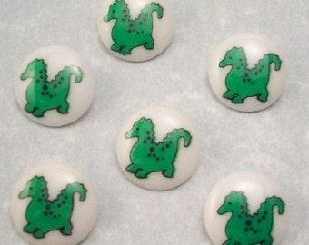 Buttons Green Dinosaurs
