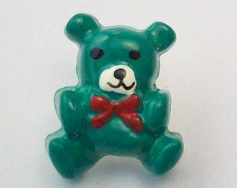 Teddy Bears in Green - Christmas Buttons