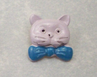 Buttons White Cats with Blue Bow Ties