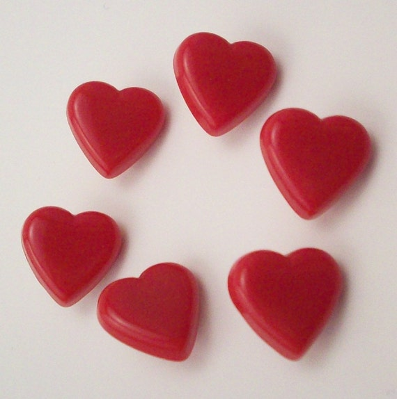 Buttons Little Red Hearts