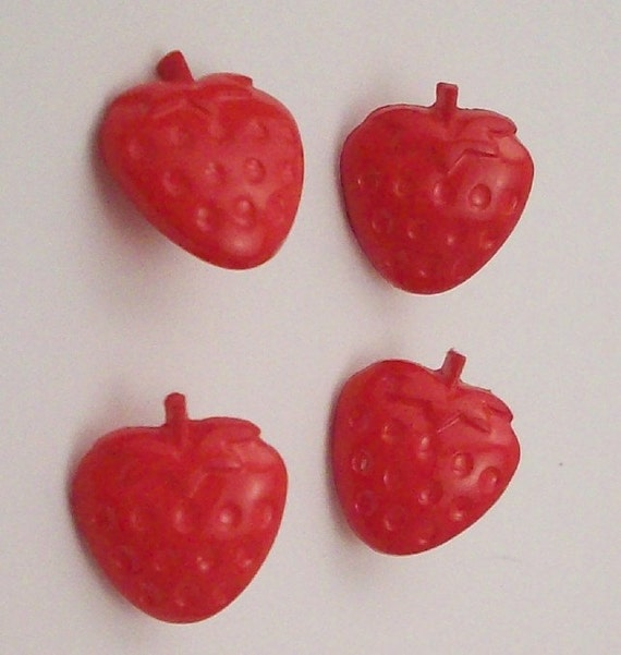 Strawberry Buttons - DIY Supplies on Etsy