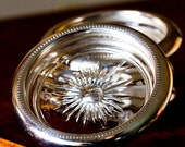Vintage Silverplated Glass Coasters by Leonard Italy