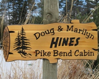 "Personalized Wood Signs - Custom Carved Signs - Cabin Signs - Carved Cedar Signs - Log Sign - RV Sign - Campsite Signs - 22"" x 10.25"""