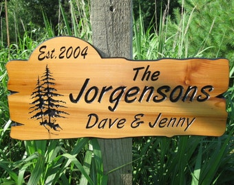 "Custom Wooden Signs -  Custom Campsite Signs - Personalized Cabin Signs - Carved Wood Signs - 22"" x 10.25"""