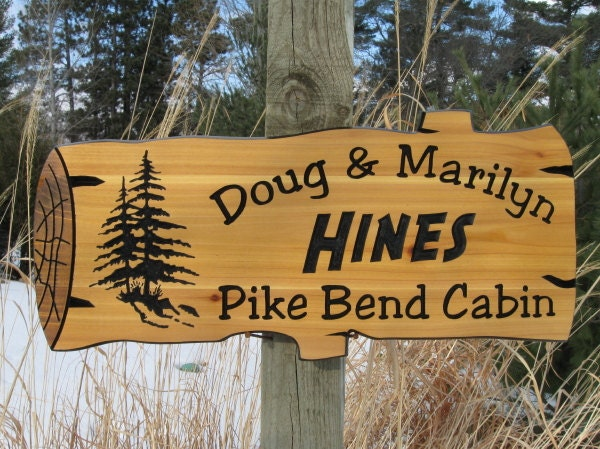 Personalized wood signs custom carved signs cabin signs for Cabin signs wood
