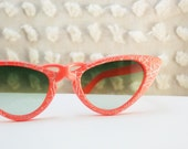1960's Fluoro Orange Silver Swirl Cat Eye Sunglasses, Green Fade Lens, Non Prescription