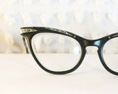 Black Silver Cat Eye 1950's Eyeglasses Molded Aluminum Browline and Temples by Liberty