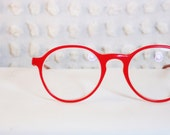 Log Lady Round Tomato Red 1970's Horn Rim Eyeglasses Thick Modern Circle Frame by Apollo Optik