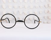 Early Black 1920's Round Eyeglasses Inky Zyl Rubber Covered Circle Wire Rim Authentic Wearable 40/25 Unisex