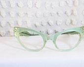 Vintage 1950s Cat Eye Glasses 50s Womens Eyeglasses Frames Mint Green Rhinestone Mermaid Carved 46/22 Optical Frame