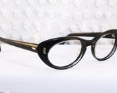 60s Cat Eye Glasses 1960s Black Eyeglasses Oval Simple Modern 48/20 NOS Frame Marine Optical