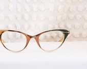 Yellow Gold Mirror 1950's Eyeglasses Aluminum Cat Eye Horn Rim Space Age Metal 45/20 Frame by Tura Optical