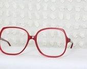 Ruby Red 1980s Oversize Eyeglasses Slim Iridescent New Old Stock Large 60/16 Unisex Frame by Regency Optical Tart