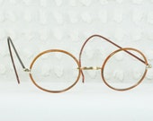 30s Eyeglasses 1930s Round Glasses Celluloid Covered Yellow Gold Filled Cable Temple 40/22 Unisex Medium