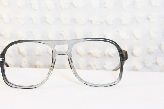 Glasses Frames Bridge Size : Aviator Gray Fade Horn Rim 1980s Eyeglasses Dark to by ...