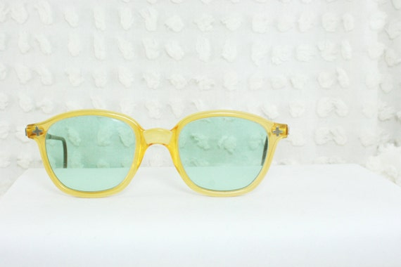 50s Mens Eyeglasses 1960s Yellow Glasses Thick 60s by ...