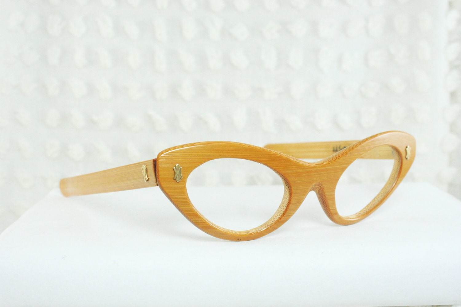 5cdb2bdca8 1950s Cat Eye Glasses 60s Womens Eyeglass Natural Bamboo Carved Wood Optical  Frame NOS 44 20 AA Sutain 98.00 USD