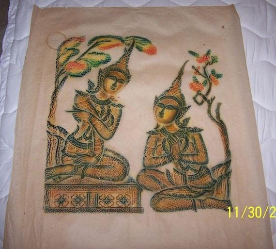 Original Antique Thai Wat Po Ramakien Temple Rubbing - Beautiful