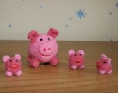Cute miniature piglets family  - mama pig and baby piglets miniature - soft sculpture