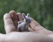 Felted rabbit, rabbit miniature, grey rabbit , felt toy, soft sculpture, felt animal, pet miniature, natural toy