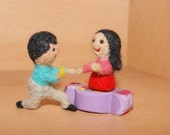 """Cake topper, felted human figurine, weddings, felted couple, miniature """"Marry me"""""""