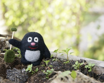 Felted mole, mole miniature, needle felted mole