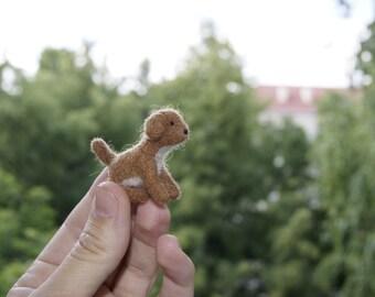 Felt dog, miniature dog, felt puppy, cake topper, natural wool toy, tiny soft sculpture, needle felted dog,brown dog