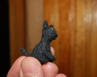 Cat miniature - super tiny felted black kitten