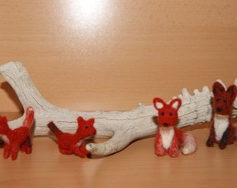 Felted fox, felted toy miniature, felted wild animals, natural wool toys, felt animal