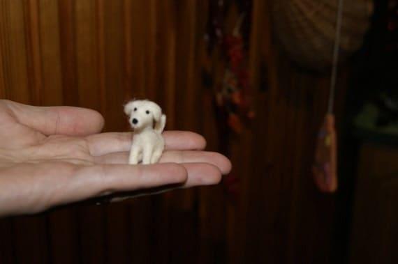 Felt dog, felt toy, natural wool toy, tiny soft sculpture, miniature dog, needle felted dog, white dog