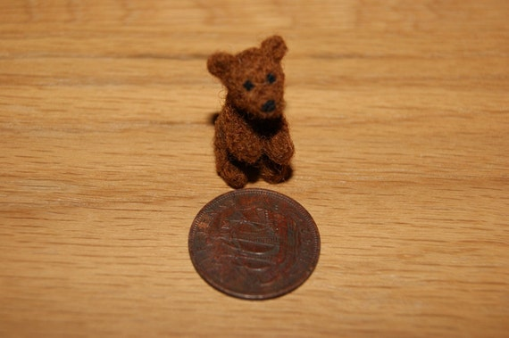 Miniature teddy bear, felted mini bear, teddy
