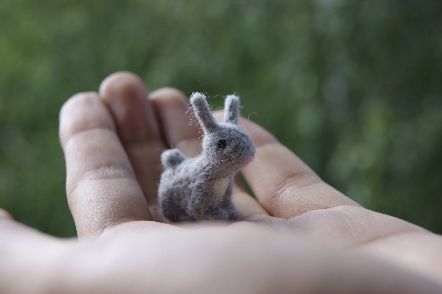 Small Toy Rabbits : Felted rabbit miniature grey felt toy soft