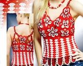 Crochet Flower Patterns Dresses Embellishment women's lace top skirt  Magazine Duplet 125