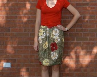 Handmade Safari Green, Yellow, and Red Tulip Skirt