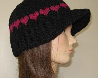 PDF Pattern Knit Visor hat / Hearted