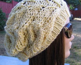 PDF Knitting Pattern - Knit Slouchy Hat / Strascicato