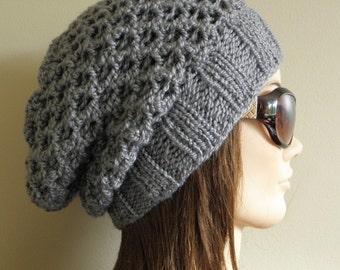 PDF Knitting Pattern - Knit Slouchy Hat / Latissa
