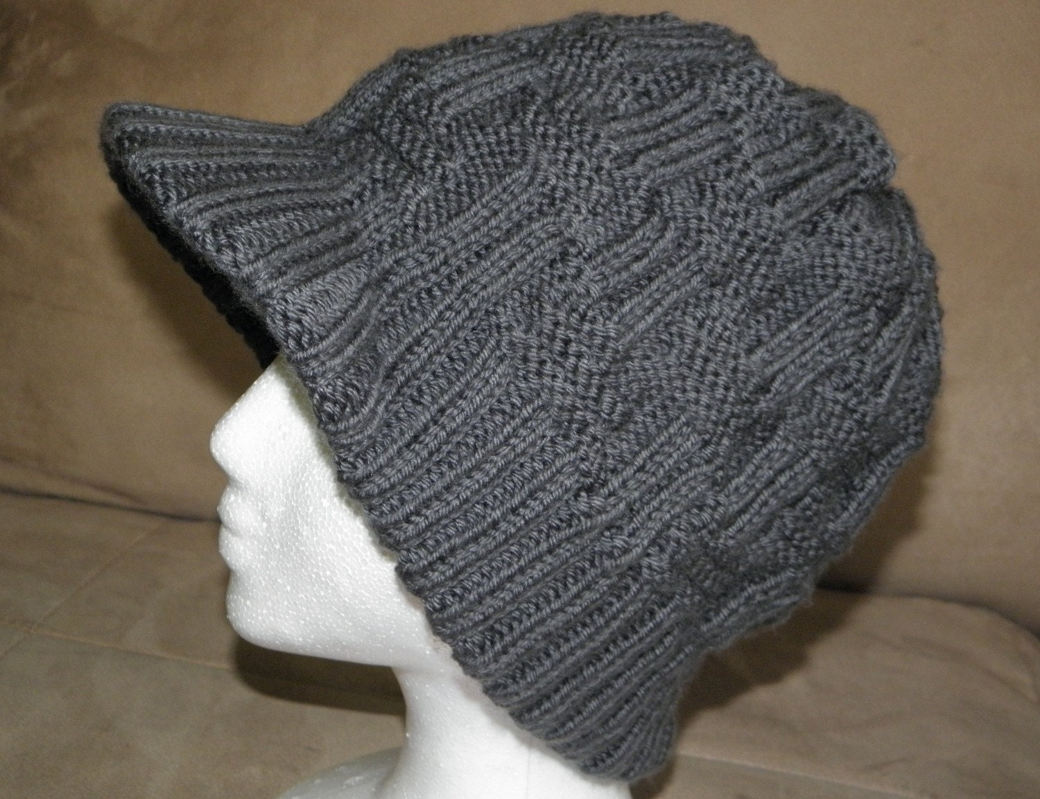 Knitting Patterns Caps : PDF Knitting Pattern Knit Visor Hat / Geometry