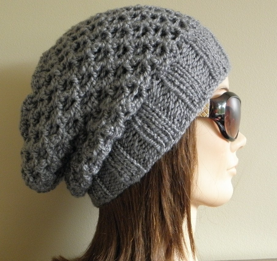 Knitting Pattern Beanie Hat Double Knitting : PDF Knitting Pattern Knit Slouchy Hat / Latissa
