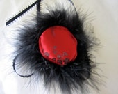 "Red and black Brocade  With Marabou Feathers By Nina's Couture Closet ""Exclusive Line Bella """