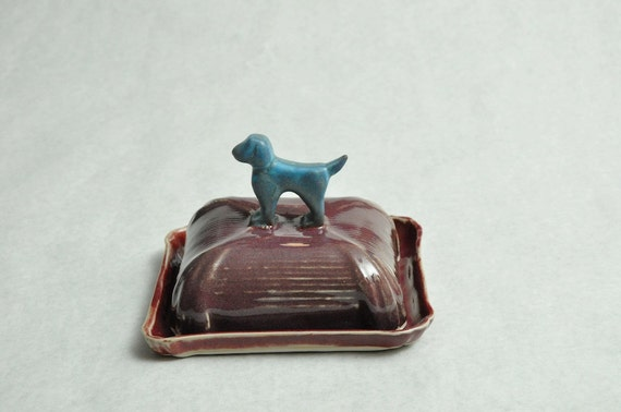 Turquoise Dog Ceramic Butter Dish
