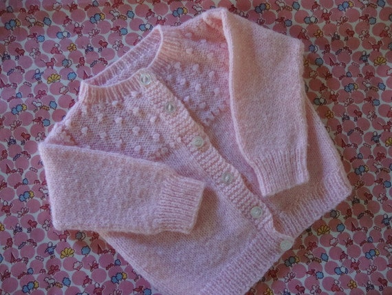 Handknitted Baby Sweater: Pretty, Pink, Vintage