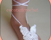 Toddler White Butterfly Barefoot Sandals