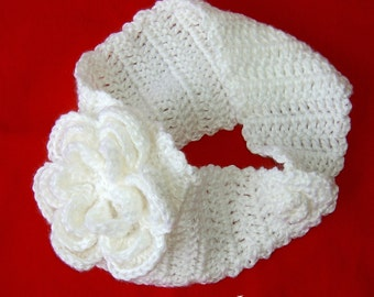 White Ear Warmer Headband with Flower  Ready to Ship Mother's Day Gift Mom Earwarmer