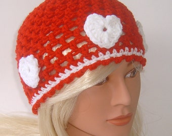 Girl's Red Beanie with Three Hearts